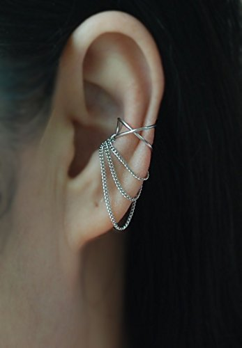 B015T4P0PG Ear Cuff, 20gauge 3 Chains Cross X ear cuff,No Piercing Cartilage Ear Cuff, Ear Jacket, Ear Wrap/Please select an option. 411zeqKZneL