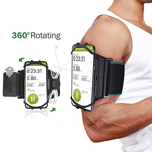 Running Sports Armband, 360° Rotatable Cellphone Sweatproof Arm Band for Workout Running Hiking Biking w/Adjustable Strap Built-in Key Earbuds Holder Compatible iPhone Android Smartphones - Black