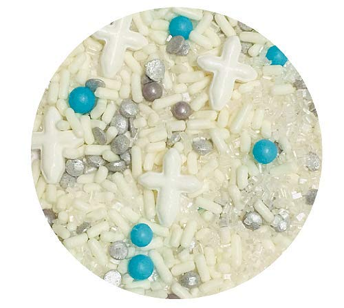(First Communion Baptism White Cross Blue Pearls Edible Confetti Sprinkles Cake Cookie Cupcake IceCream Donut Quins - 6oz Jar)