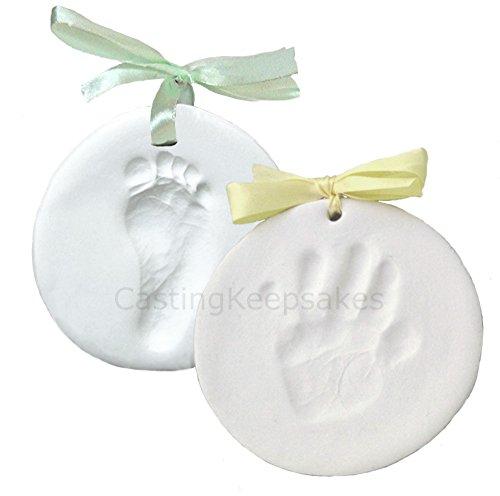 Hand Mold (Clay Handprint, Footprint or Paw Print Keepsake Kit - Dries Stone Hard - No Bake - Air Drying (Makes 2)
