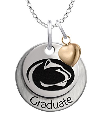 (Penn State Nittany Lions GRADUATION Necklace Sterling Silver Stacked Charm with Heart Accent)