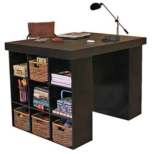 Venture Horizon Project Center Desk with 2 Bookcase Sides-Black