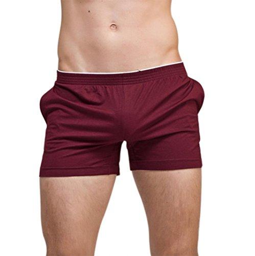 AMSKY ❤Men Summer Boxer Sport Beach Swimming Pants Casual Nightwear Tide Male Flat Pants Underwear Home Shorts (M, Wine Red)