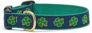 product image for Up Country Navy Shamrock Pattern Dog Collar, Medium (12 To 18 Inches) 5/8 Inch Narrow Width