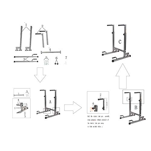 Livebest Heavy Duty Adjustable Power Tower Multi-Function Strength Training Dip Stand Workout Station Fitness Equipment for Home Gym by Livebest (Image #8)