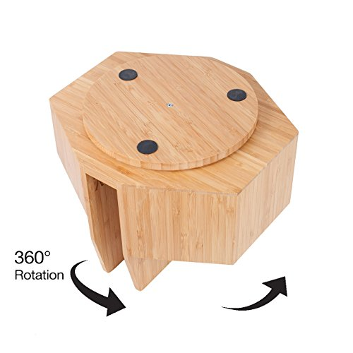 Bamboo Rotating Utensil Holder Portable Silverware Caddy, Condiment, Dining & Kitchen Organizer, Makeup Holder, Desktop, Classroom Supplies Organizer by MobileVision (Image #4)