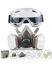 Respirator RHINO Halfgelaatsmasker tegen Stof Bescherming Half Masker Herbruikbare Stofdicht, Verf, Gas, Chemicaliën met Veiligheidsbril en Deeltjesfilters