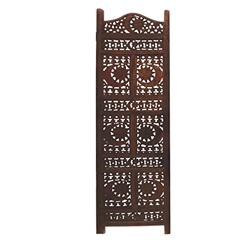 Benzara Wooden Room Divider Carved With Sun And Moon Screen, Brown