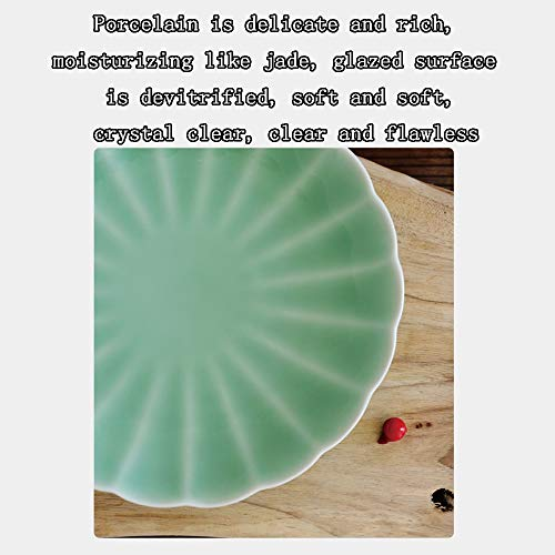 Celadon Dish Household 8 Inch Ceramic Household Dish Creative Personality Fruit Plate Dish (Design : B) by Porcelain plate (Image #1)