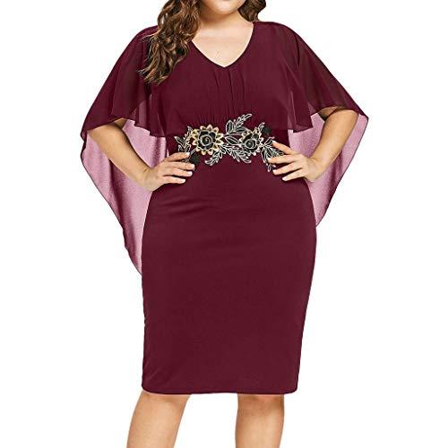 Sttech1 Women Plus Size Dress, Ladies V-Neck Cocktail Bodycon Elegant Cape Dress S-5XL Wine