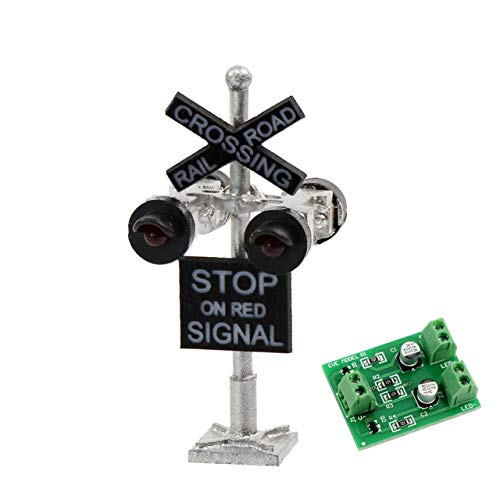 Evemodel JTD1506RP 1 Set N Scale Railroad Train/Track Crossing Sign 4 Heads LED Made + Circuit Board Flasher-Flashing Red Train Signal Lights Decoration and Party