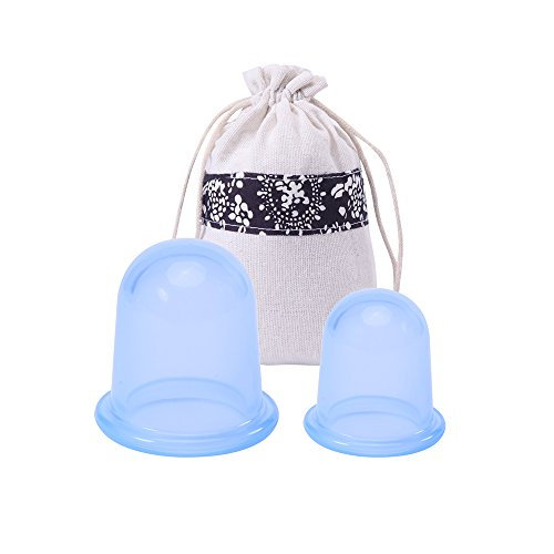MEINAIER Silicone Cupping Therapy Set, Anti Cellulite Cups Kit For Face&Body ,Vacuum Massage, Anti-aging Wrinkle Reducer,2Pcs include 1 Large Size And 1 Medium Size (BLUE) (Cellulite Anti Cups)