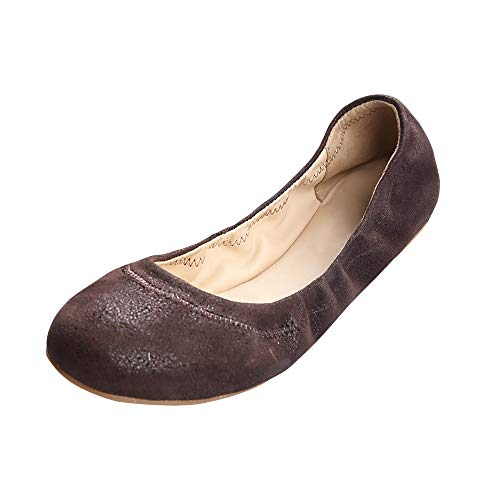 Brown Patent Platform - Xielong Women's Chaste Ballet Flat Lambskin Loafers Casual Ladies Shoes Leather Brown 6