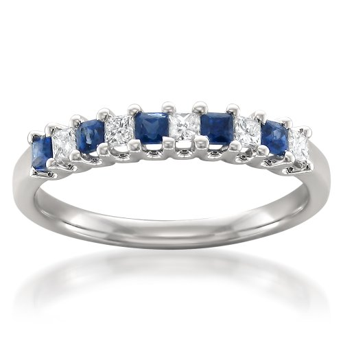 La4ve Diamonds 14k White Gold Princess-cut Diamond & Blue Sapphire Bridal Wedding Band Ring (1/2 cttw, H-I, I1-I2), Size 8 ()