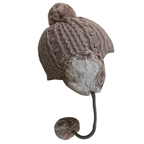 Bodvera Chunky Soft Stretch Cable Knit Faux Fur Slouchy Pom pom Beanie Skully