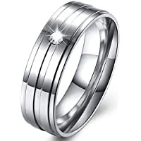 Via Mazzini Stainless Steel Crystal Proposal Engagement Band Ring for Men and Boys (Ring0647)