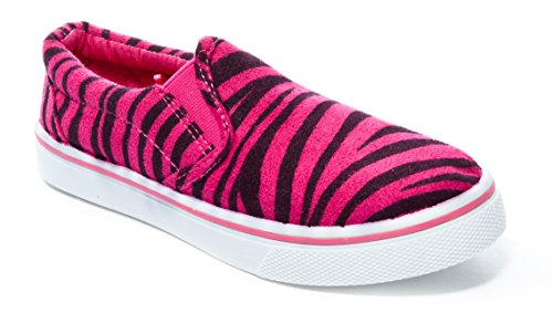 - Pink Label Girl's Slip-On Zebra Striped Print Sneaker in Fuchsia Size: 13
