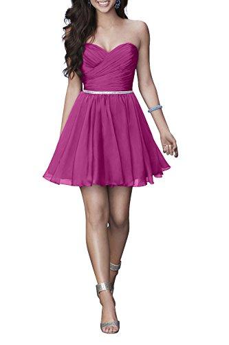 Chiffon Charmant Pink Partykleider Einfach kleider Mini Heimkehr Damen Herzausschnitt Cocktailkleider Kurz 6qaXZrwOq