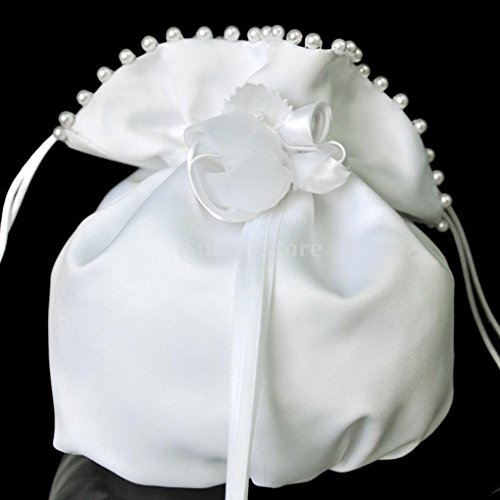 White Satin Bridal/Flowergirl Purse Money Bag with Pearls