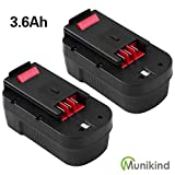 HPB18-OPE 3.6Ah Ni-Mh Replacement for Black and Decker 18 Volt Battery HPB18 244760-00 A1718 FS18FL FSB18 Firestorm Cordless Power Tools Pack of 2