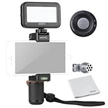 Movo Smartphone Video Kit V4 with Grip Rig, Mini Directional Microphone, LED Light & Wireless Remote - for iPhone 5, 5C, 5S, 6, 6S, 7, 8, X (Regular and Plus), Samsung Galaxy, Note & More