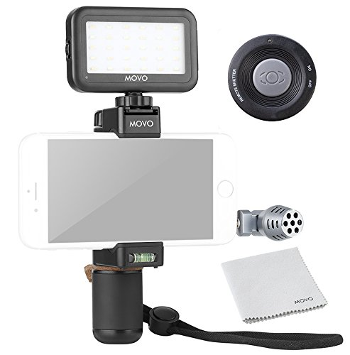 Movo Smartphone Video Kit V4 with Grip Rig, Mini Directional Microphone, LED Light & Wireless Remote - for iPhone 5, 5C, 5S, 6, 6S, 7, 8, X (Regular and Plus), Samsung Galaxy, Note & More by Movo
