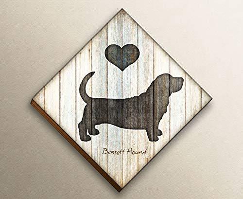 Bassett Hound Diamond Shaped Mounted Dog Art Print by Dan Morris ()