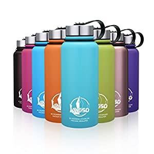 KINGSO 30 oz Wide Mouth BPA Free Double Walled Vacuum Insulated Stainless Steel Sports Water Bottle for Hot and Cold Beverages Mint Blue
