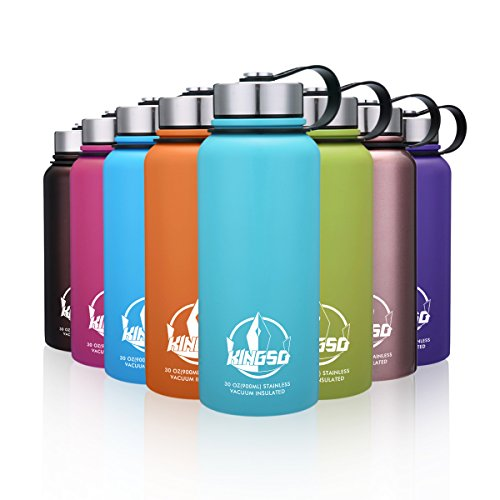 KINGSO Vacuum Insulated Stainless Steel Water Bottle 32 oz Wide Mouth Double Wall Sports Water Bottles Leak Proof Bpa Free