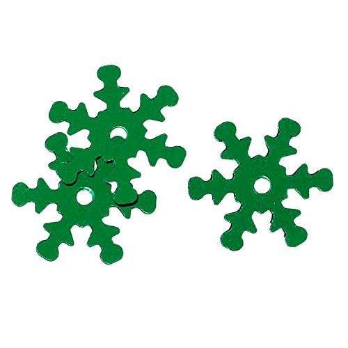 Snowflake Sequin (Rockin Beads 800 Green Snowflake Sequins for Sewing Card Making Scrapbooking Crafts 13mm)