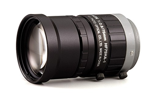 Fujinon HF75HA-1B 2/3'' 75mm F2.8- F22 Fixed Focal Lens for 1.5MP Cameras, C-Mount, Manual Iris, Industrial and Machine Vision Applications