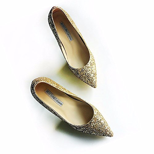 Fashion Shoes Gradient Shoes Ladies' HXVU56546 Shoes Heels Sequined Fine Pointy Gold Prom High BfqYAnUwF
