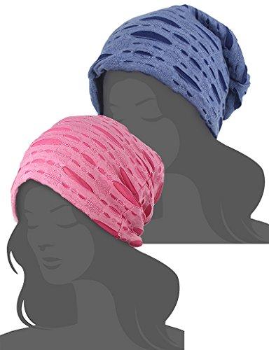2 Pack Stylish Wrinkled Beanie Cap Slouchy Skull Hat