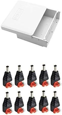 Almencla Caja De Conexiones Impermeable De Plástico + Adaptador De Corriente Macho 10PCS DC: Amazon.es: Electrónica