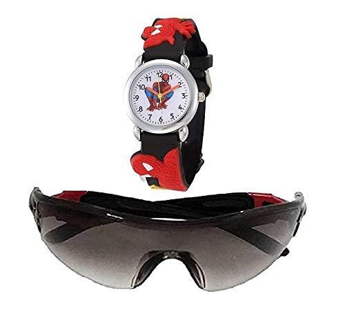 sba prime Boy's Goggle Sunglasses and Watch (3-6 Yrs, Black, Small)