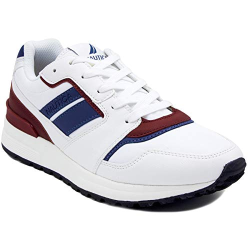Nautica Men's Casual Lace-Up Fashion Sneakers Oxford Comfortable Walking Shoe-Simeon-White/Red/Blue-13]()