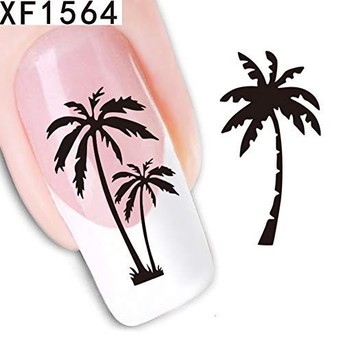 Nail Stickers gLoaSublim,Water Transfer Tattoo Decal Flower Feather Owl Nail Art Sticker Beauty Decor - XF1564]()