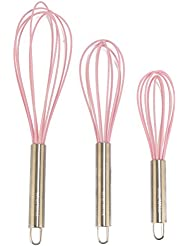 Charmant Silicone Whisk Set Of 3   Stainless Steel U0026 Silicone Kitchen Utensils For  Blending, Whisking
