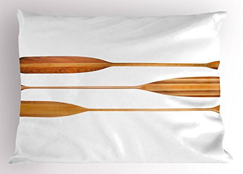 Standard Oar Blades (Oar Pillow Sham by Lunarable, Three Traditional Wooden Canoe Paddles with Different Shape of Blades Exotic Sports, Decorative Standard King Size Printed Pillowcase, 36 X 20 Inches, Sand Brown)