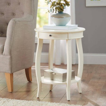 Elegant Round Accent Table with Drawer, Lower Shelf for Additional Storage, Bentwood Skirt, 4 Cabriolet Tapered Legs, Made of Wood, White + Expert Home Guide by Love US