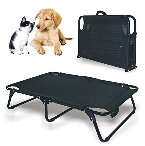 Foldable and Rest Bed for Dogs,Elevated Cool Pet Cot with Steel Frame,Pet Bed Pet Cot for Dogs and Cat s,35x24x7.9inches