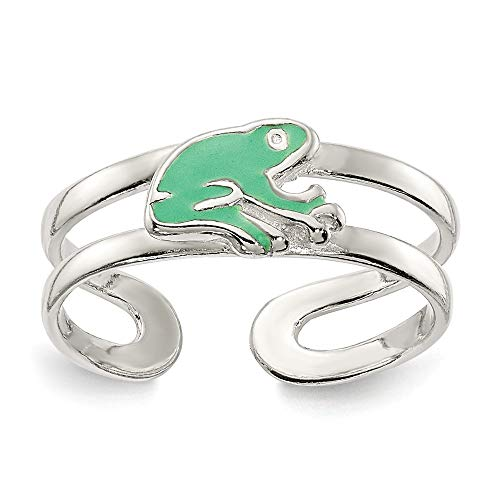 - 925 Sterling Silver Green Enameled Frog Adjustable Cute Toe Ring Set Fine Jewelry Gifts For Women For Her