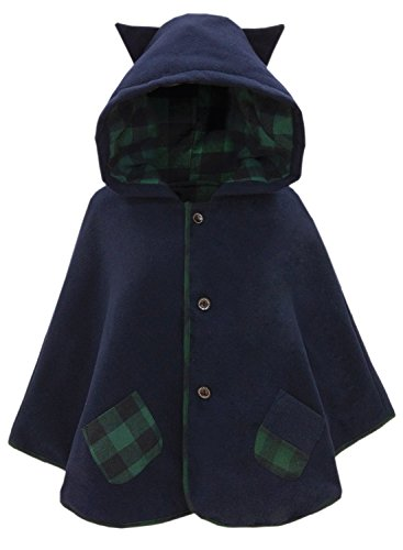 Doballa Girls' Sweet Cat Ears Hoodie Poncho Button Down Cape Coat Outwear With Patch Pockets