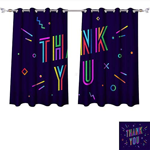 DragonBui Thermal Insulated Grommet Blackout Curtains Thank You Greeting Card Banner Poster for Thanksgiving Day1 for Bedroom W72 x ()