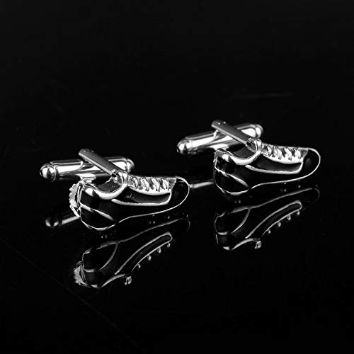 FITIONS - Men Gifts Football Shoe Cufflinks Black Enamel Cuff Links Novelty Sport Design Business Suit Cuffs Buttons Pins