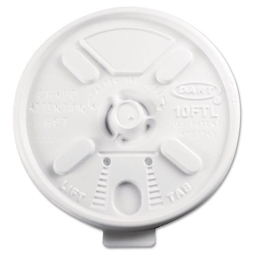 DCC 10FTL Lift N` Lock Plastic Hot Cup Lids, Fits 10oz Cups, White, 1000/Carton