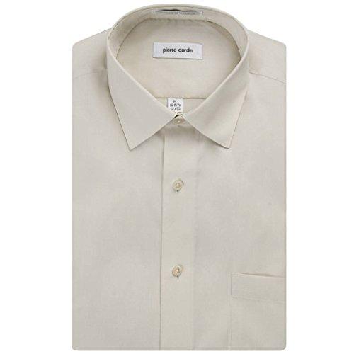 Pierre+Cardin+Men%27s+Regular+Fit+Long+Sleeve+Solid+Dress+Shirt+-+Sand+-+16.5+4-5