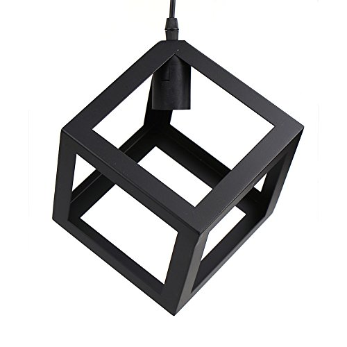 Cube Ceiling Light Holder Retro Industrial Black Metal Basket Cage Loft Pendant Lamp Shade (E27 Bulbs not Included)