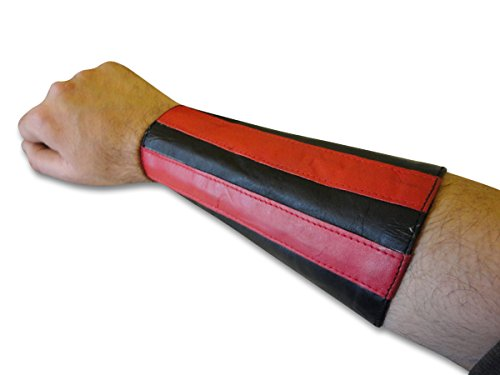 Stripe Gauntlet - LongLifeLeather Red Stripes Double Leather Laces Wristband Arm Band Hand Gauntlet Cuff New Pair