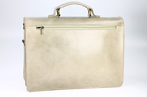 Belli Design Bag B - Maletín italiano unisex, piel, 40 x 30 x 14 cm (an. x al. x pr.), varios colores Beige - arena